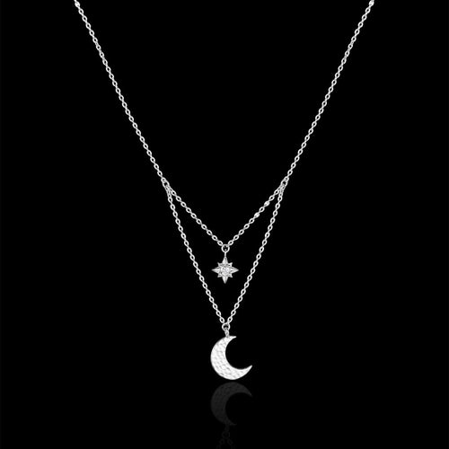 Silver Hammered Moon and Star Necklace
