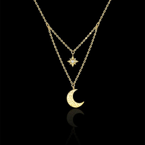 starry night moon and star drop necklace by catherine zoraida