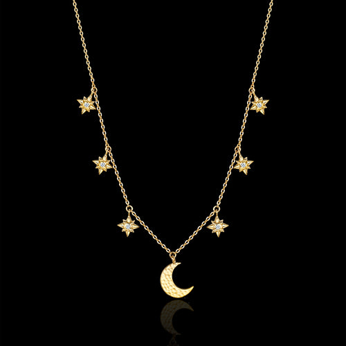 Silver Starry Night Moon and Star Drop Necklace