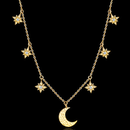 Starry Night Moon and Star Necklace