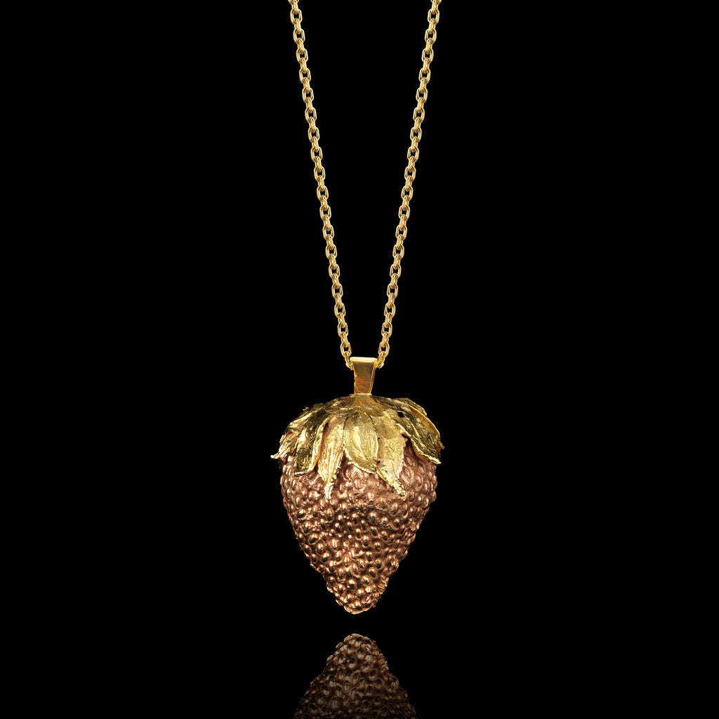 Gold Lucy's Strawberry Pendant