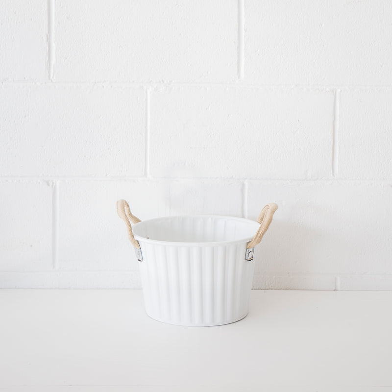Metal Tub White Sml