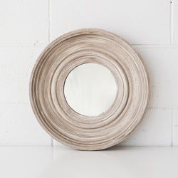 Cement Finish Round Mirror