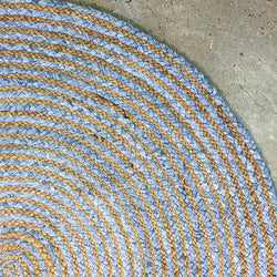 Jute Braided Round Blue Rug