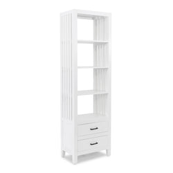 Caribbean Slatted Bookcase 2 Drawers