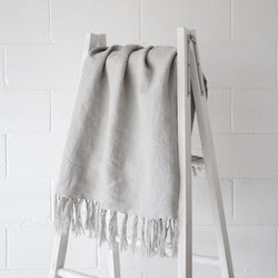Luca Linen Throw Silver Grey