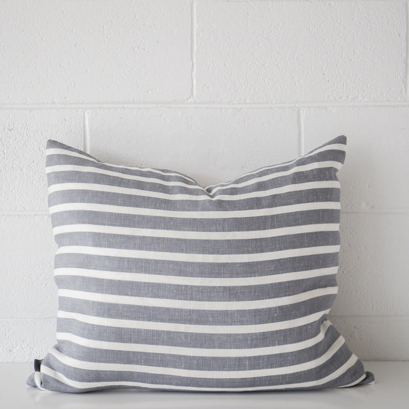 Cotier Cushion Slate White Stripe