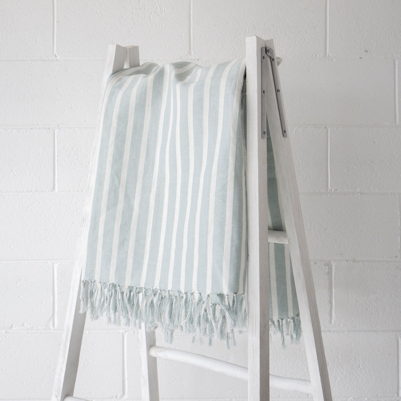 Cotier Cotton Throw Sea Mist White Stripe
