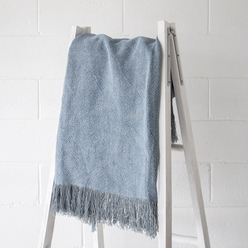 Issey Fringed Throw Blue Grey