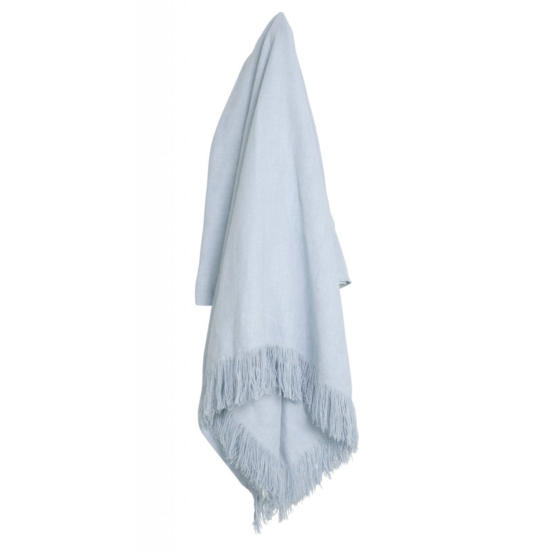 Issey Fringed Throw Pale Blue