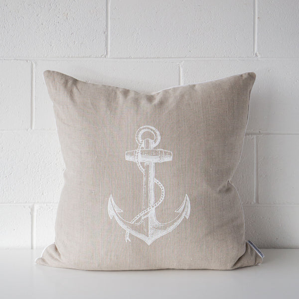 Anchor Linen Cushion White