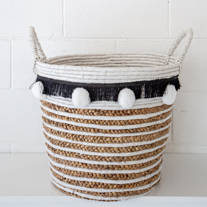 Round Tapered Basket with Handle & Pompoms