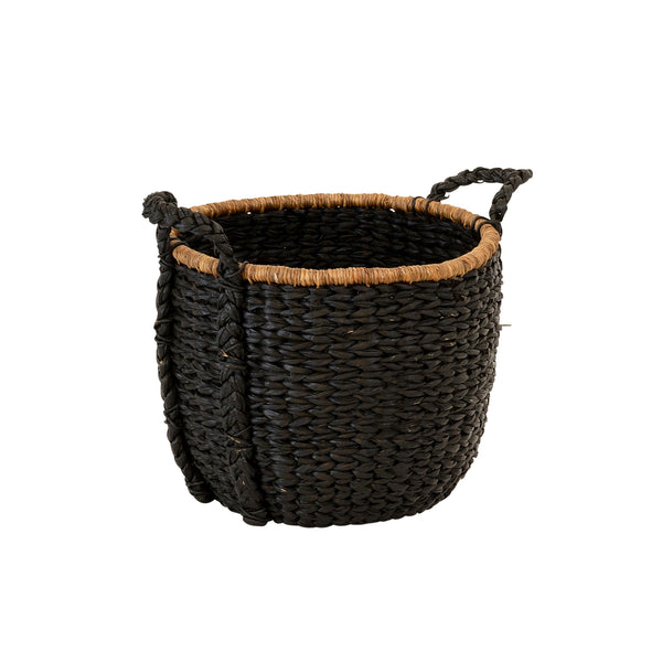 Water Hyacinth Round Basket - Black Medium