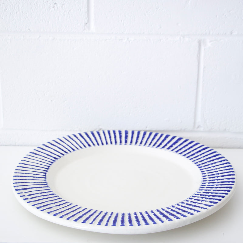 Aegean Round Plate with Blue Lines