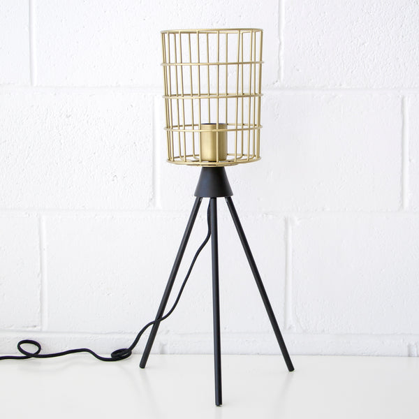 Gold Wire Barrel Table Lamp
