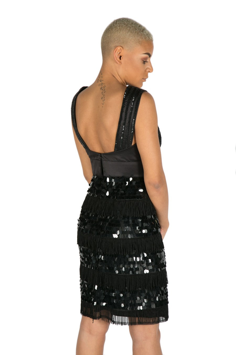 LBD ROXY SEQUIN DRESS - BLACK