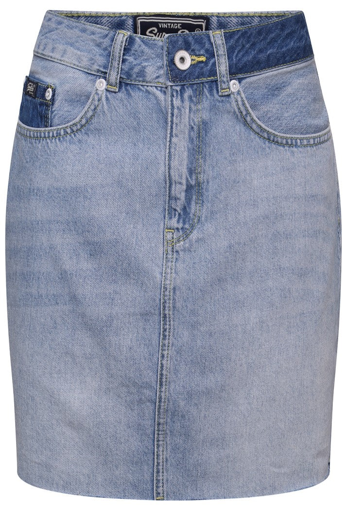 SUPERDRY DENIM MINI SKIRT - MALDIVE TIDE BLUE