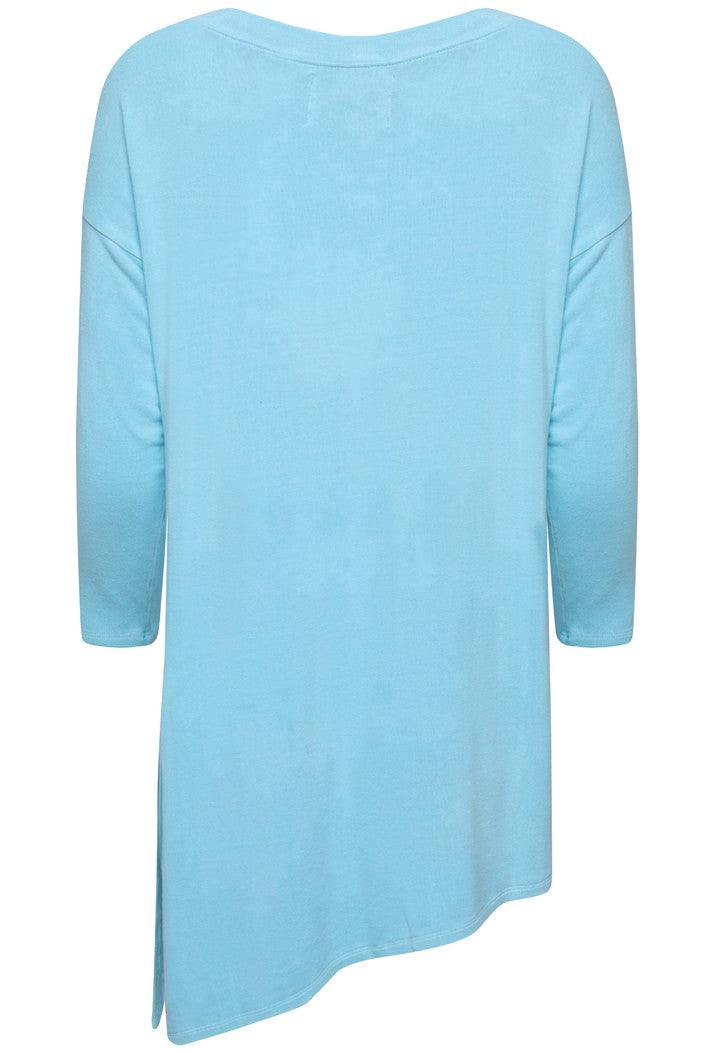 A POSTCARD FROM BRIGHTON FABIOLA LONG SLEEVE ASYMMETRIC TUNIC TOP - SKY