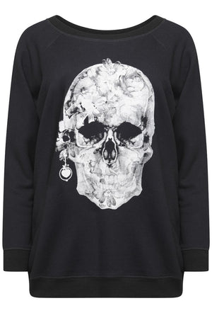 A POSTCARD FROM BRIGHTON PRETTY SKULL PRINTED SWEATER - BLACK