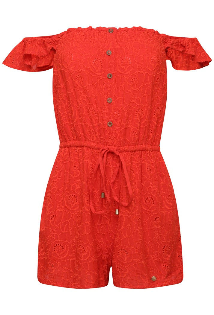 SUPERDRY LILAH SCHIFFLI PLAYSUIT - AHOY RED