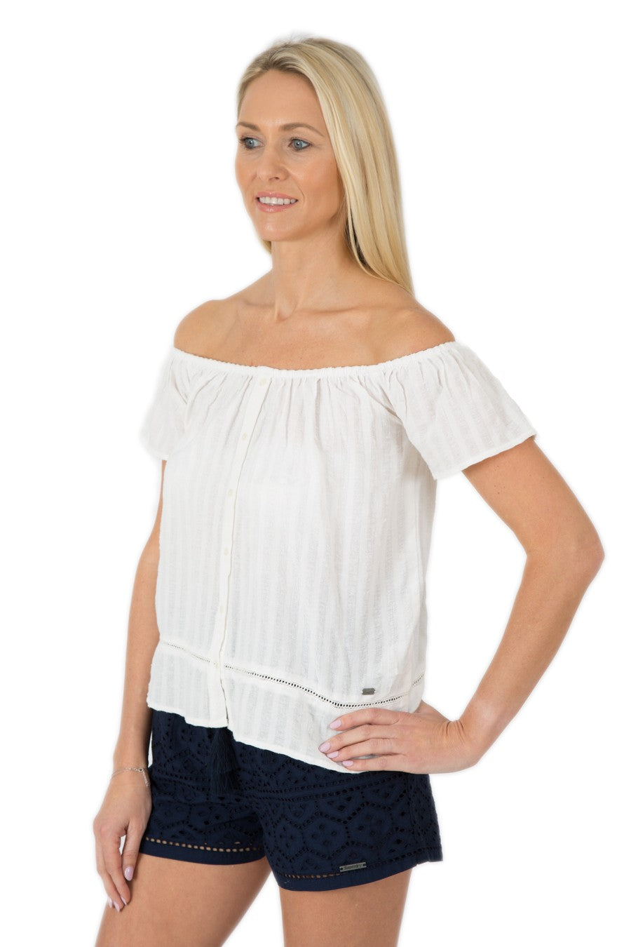 SUPERDRY MARINA BARDOT BUTTON TOP - OPTIC WHITE