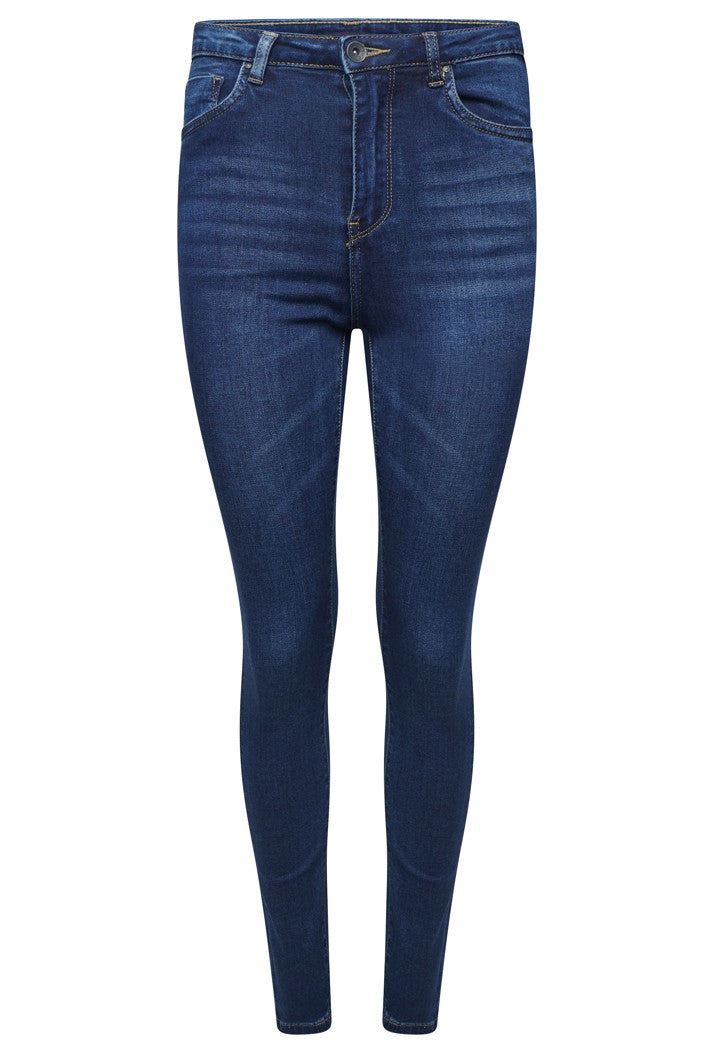 TOXIK3 L185-J18 HIGH WAIST SKINNY JEANS - DARK BLUE