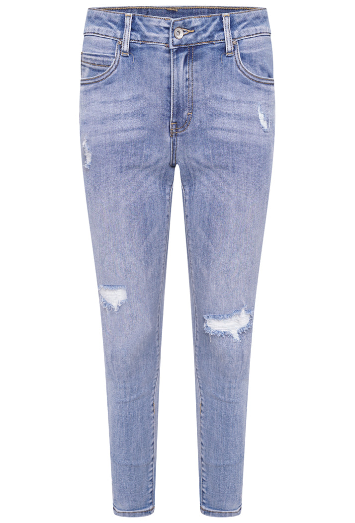 L20053-1 High Waist Ripped Skinny Jeans - Light Denim