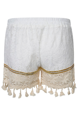 SEQUIN EMBROIDERED LACE POM POM SHORTS - WHITE
