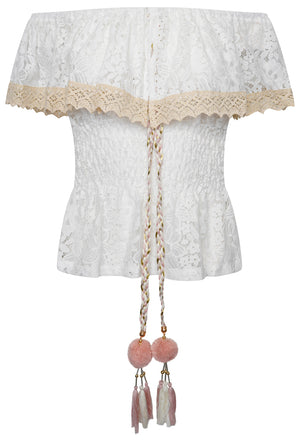 OFF THE SHOULDER LACE POM POM TOP - WHITE