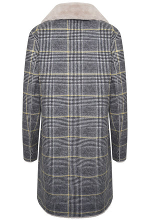 Rida Reversible Faux Suede Coat - Yellow Checked