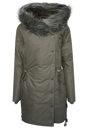 Alena Faux Fur Hooded Parka Coat - Dusty Olive