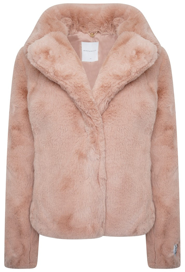 Juna Faux Fur Coat - Misty Rose