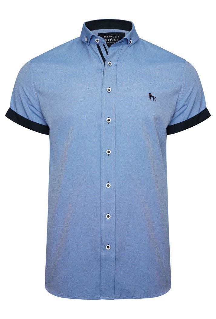 GALANDB SLIM FIT OXFORD SHORT SLEEVE SHIRT - BLUE