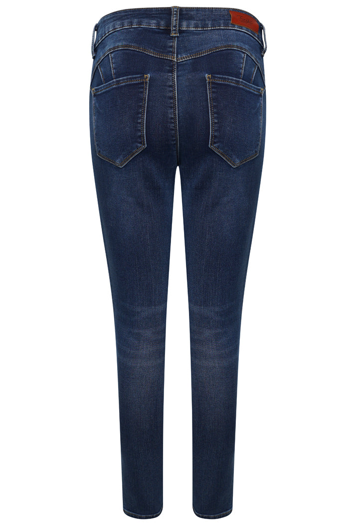 L1879-1 Push-Up Yellow Stitch Skinny Jeans - Dark Blue