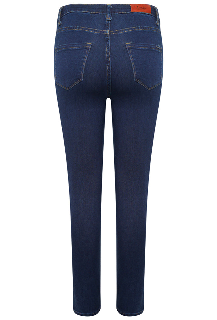 L185-J36 High Waist Skinny Jeans - Dark Blue