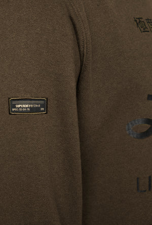 Military Graphic Hoodie - Black Olive Grit