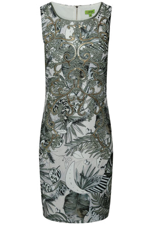 K-DESIGN PALM LEAF PRINT EMBELLISHED SLEEVELESS DRESS - MULTI