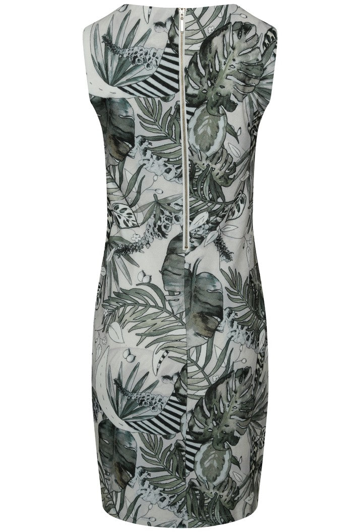 K-DESIGN PALM LEAF PRINT EMBELLISHED SLEEVELESS SUMMER DRESS - MULTI
