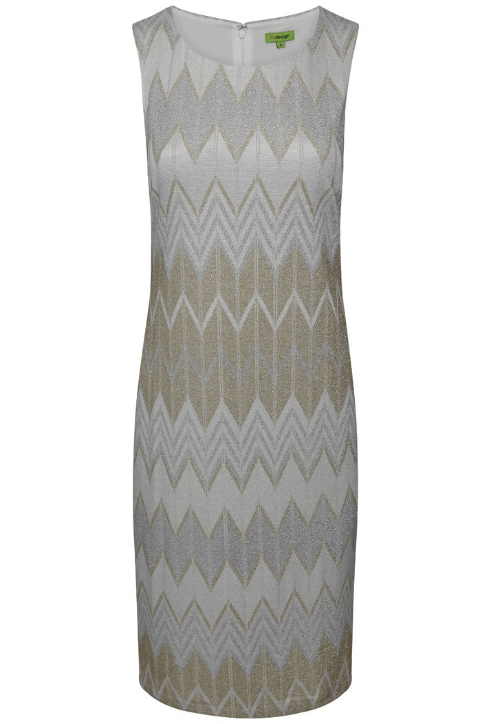 K-DESIGN ZIG ZAG DESIGN LUREX SLEEVELESS DRESS - GOLD