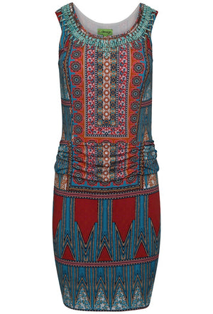 K-DESIGN ABSTRACT PRINT EMBELLISHED SLEEVELESS DRESS - MULTI