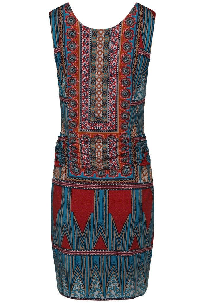 K-DESIGN ABSTRACT PRINT EMBELLISHED SLEEVELESS SUMMER DRESS - MULTI