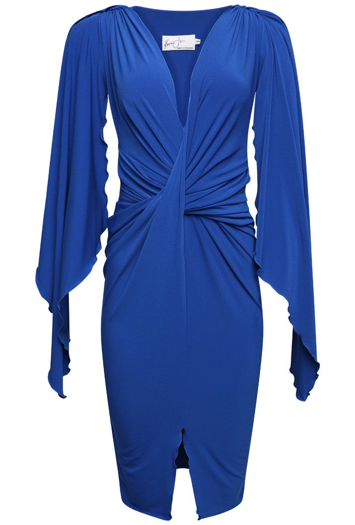 KEVAN JON CYCLONE KNEE DRESS - COBALT BLUE