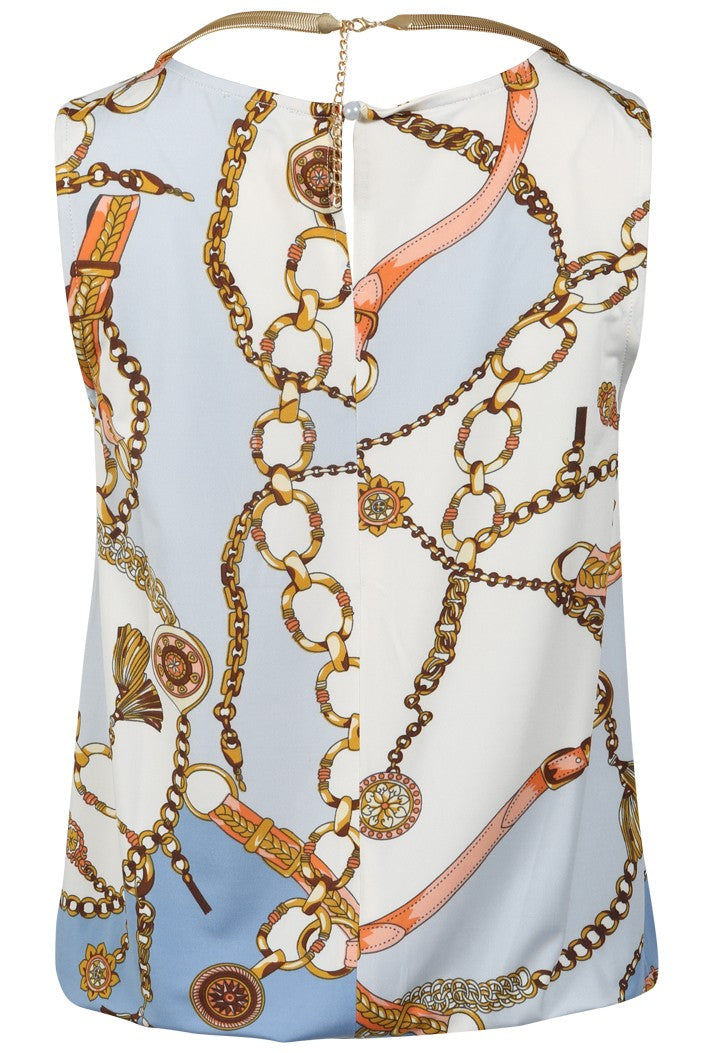 K-DESIGN CHAIN PRINT NECKLACE SUMMER TOP - WHITE