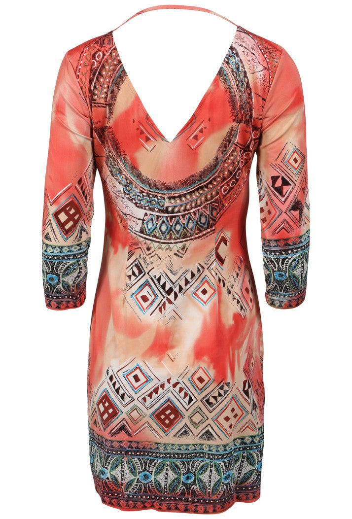 K-DESIGN AZTEC PRINT COIN NECKLACE DRESS - CORAL