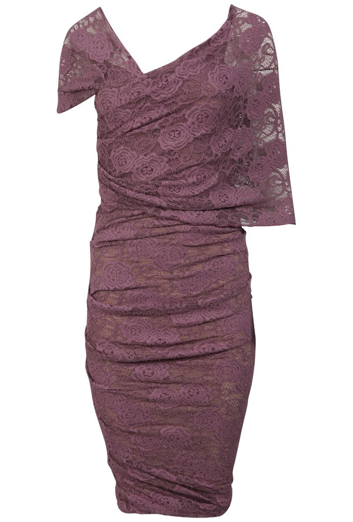 KEVAN JON HALIA KNEE DRESS - MAUVE