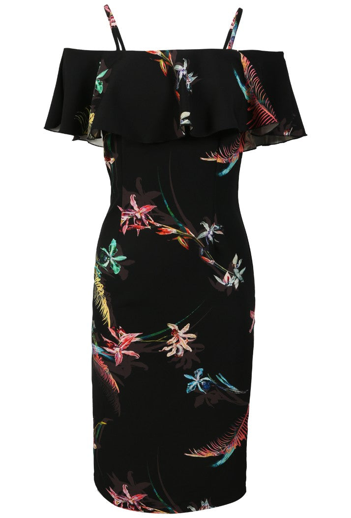 RINASCIMENTO FLORAL MIDI DRESS - BLACK