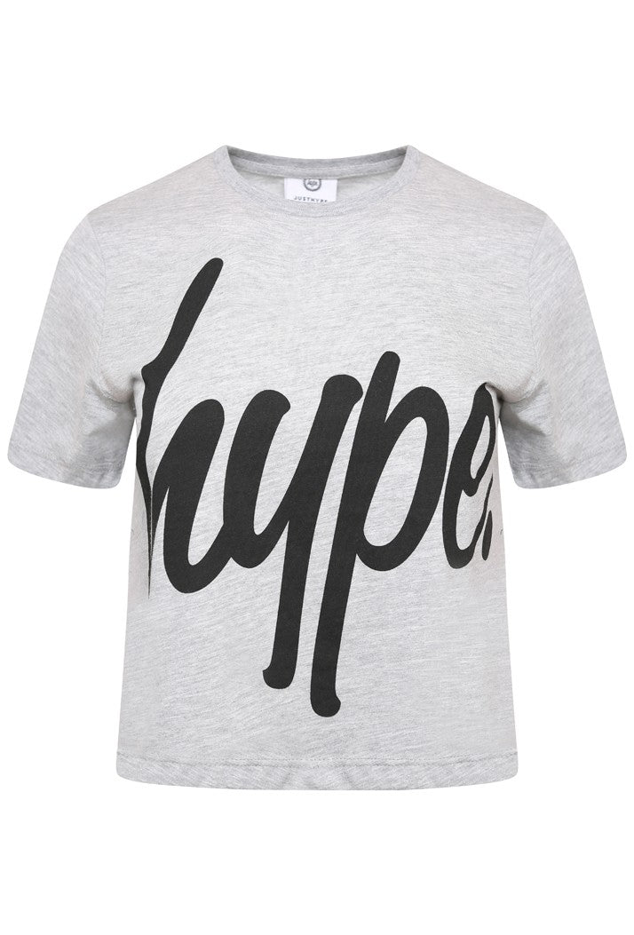 HYPE SCRIPT CROP T-SHIRT - GREY/BLACK