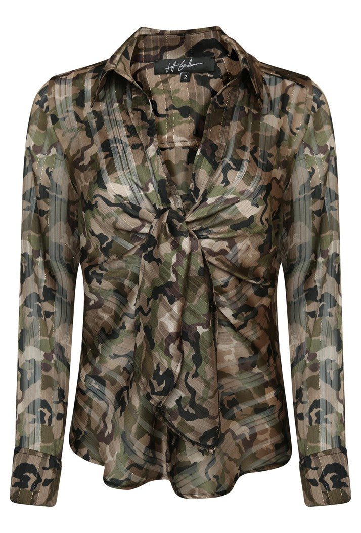 JEFF GALLIANO TIE FRONT GOLD LUREX CAMOUFLAGE PRINT BLOUSE