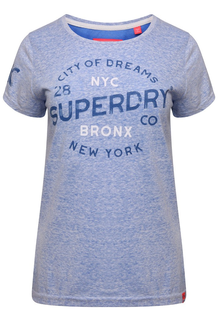 SUPERDRY CITY OF DREAMS T-SHIRT - MARITIME BLUE REVERSE DYED
