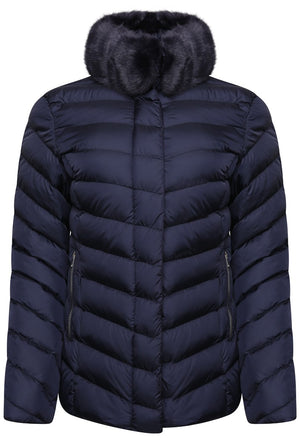 RINO & PELLE RINSKE FAUX FUR COLLAR QUILTED JACKET - NAVY BLUE
